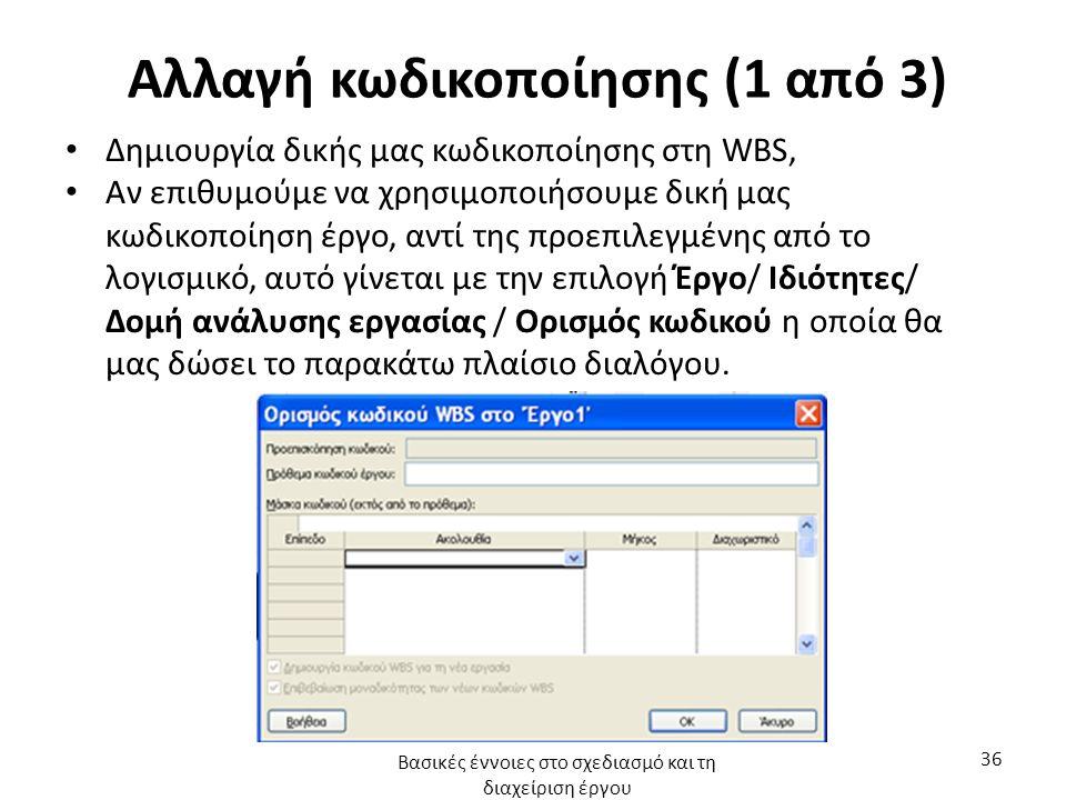 Αλλαγή κωδικοποίησης (1 από 3) Δημιουργία δικής μας κωδικοποίησης στη WBS, Αν επιθυμούμε να χρησιμοποιήσουμε δική μας κωδικοποίηση έργο, αντί της προεπιλεγμένης από το λογισμικό, αυτό γίνεται με την επιλογή Έργο/ Ιδιότητες/ Δομή ανάλυσης εργασίας / Ορισμός κωδικού η οποία θα μας δώσει το παρακάτω πλαίσιο διαλόγου.