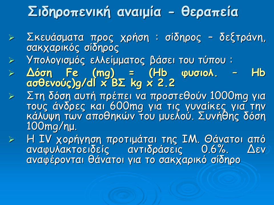  Σκευάσματα προς χρήση : σίδηρος – δεξτράνη, σακχαρικός σίδηρος  Υπολογισμός ελλείμματος βάσει του τύπου :  Δόση Fe (mg) = (Hb φυσιολ.