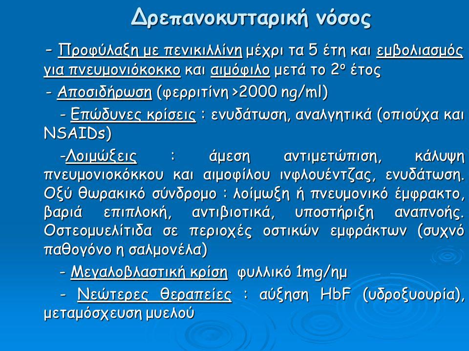 Δρεπανοκυτταρική νόσος - Προφύλαξη με πενικιλλίνη μέχρι τα 5 έτη και εμβολιασμός για πνευμονιόκοκκο και αιμόφιλο μετά το 2 ο έτος - Προφύλαξη με πενικιλλίνη μέχρι τα 5 έτη και εμβολιασμός για πνευμονιόκοκκο και αιμόφιλο μετά το 2 ο έτος - Αποσιδήρωση (φερριτίνη >2000 ng/ml) - Αποσιδήρωση (φερριτίνη >2000 ng/ml) - Επώδυνες κρίσεις : ενυδάτωση, αναλγητικά (οπιούχα και NSAIDs) - Επώδυνες κρίσεις : ενυδάτωση, αναλγητικά (οπιούχα και NSAIDs) -Λοιμώξεις : άμεση αντιμετώπιση, κάλυψη πνευμονιοκόκκου και αιμοφίλου ινφλουέντζας, ενυδάτωση.