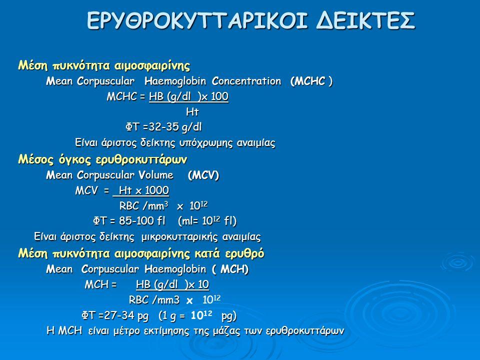 ΕΡΥΘΡΟΚΥΤΤΑΡΙΚΟΙ ΔΕΙΚΤΕΣ Μέση πυκνότητα αιμoσφαιρίνης Mean Corpuscular Haemoglobin Concentration (MCHC ) Mean Corpuscular Haemoglobin Concentration (MCHC ) MCHC = HB (g/dl )x 100 MCHC = HB (g/dl )x 100 Ht Ht ΦΤ =32-35 g/dl ΦΤ =32-35 g/dl Είναι άριστος δείκτης υπόχρωμης αναιμίας Είναι άριστος δείκτης υπόχρωμης αναιμίας Μέσος όγκος ερυθροκυττάρων Mean Corpuscular Volume (MCV) Mean Corpuscular Volume (MCV) MCV = Ht x 1000 MCV = Ht x 1000 RBC /mm 3 x 10 12 RBC /mm 3 x 10 12 ΦΤ = 85-100 fl (ml= 10 12 fl) ΦΤ = 85-100 fl (ml= 10 12 fl) Είναι άριστος δείκτης μικροκυτταρικής αναιμίας Είναι άριστος δείκτης μικροκυτταρικής αναιμίας Μέση πυκνότητα αιμοσφαιρίνης κατά ερυθρό Mean Corpuscular Haemoglobin ( MCH) Mean Corpuscular Haemoglobin ( MCH) MCH = HB (g/dl )x 10 MCH = HB (g/dl )x 10 RBC /mm3 RBC /mm3 x 10 12 ΦΤ =27-34 pg (1 g = pg) ΦΤ =27-34 pg (1 g = 10 12 pg) Η MCH είναι μέτρο εκτίμησης της μάζας των ερυθροκυττάρων Η MCH είναι μέτρο εκτίμησης της μάζας των ερυθροκυττάρων