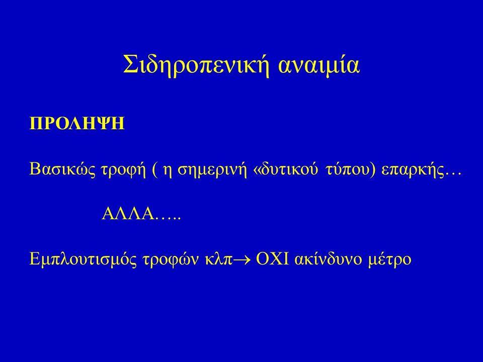 Σιδηροπενική αναιμία ΠΡΟΛΗΨΗ Βασικώς τροφή ( η σημερινή «δυτικού τύπου) επαρκής… ΑΛΛΑ…..