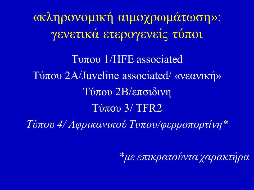 «κληρονομική αιμοχρωμάτωση»: γενετικά ετερογενείς τύποι Τυπου 1/HFE associated Tύπου 2Α/Juveline associated/ «νεανική» Τύπου 2Β/επσιδινη Τύπου 3/ ΤFR2 Tύπου 4/ Αφρικανικού Τυπου/φερροπορτίνη* *με επικρατούντα χαρακτήρα