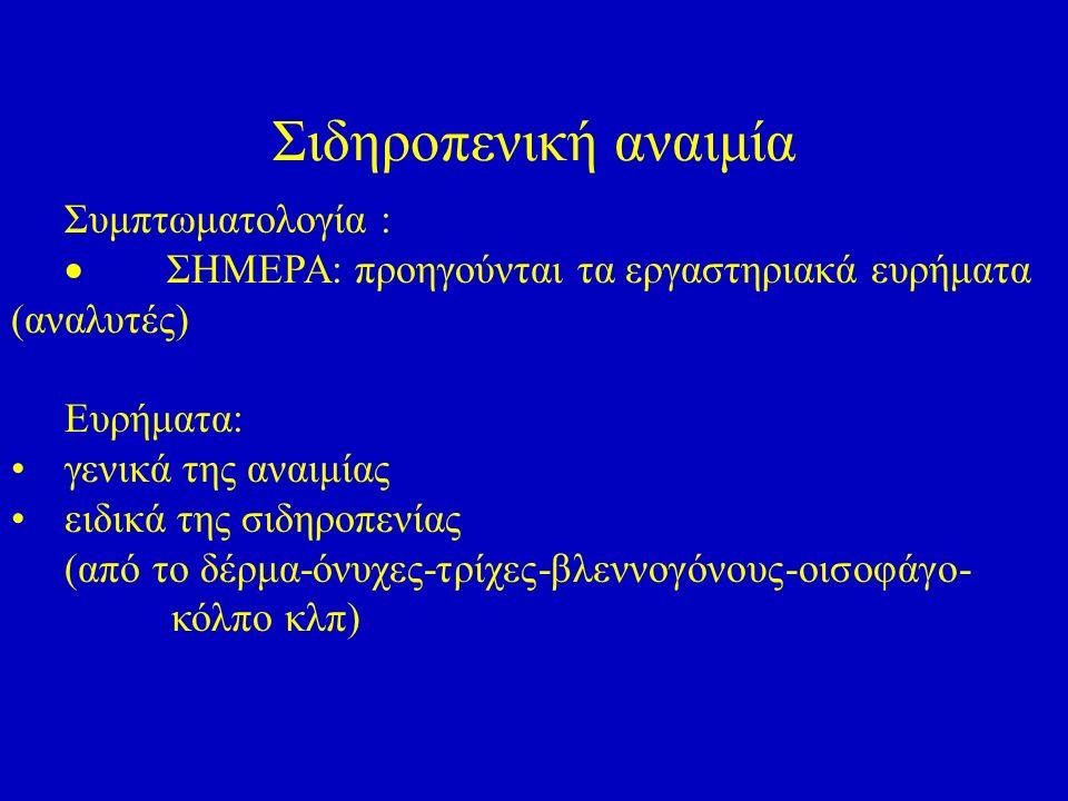 Σιδηροπενική αναιμία Συμπτωματολογία :  ΣΗΜΕΡΑ: προηγούνται τα εργαστηριακά ευρήματα (αναλυτές) Eυρήματα: γενικά της αναιμίας ειδικά της σιδηροπενίας (από το δέρμα-όνυχες-τρίχες-βλεννογόνους-οισοφάγο- κόλπο κλπ)