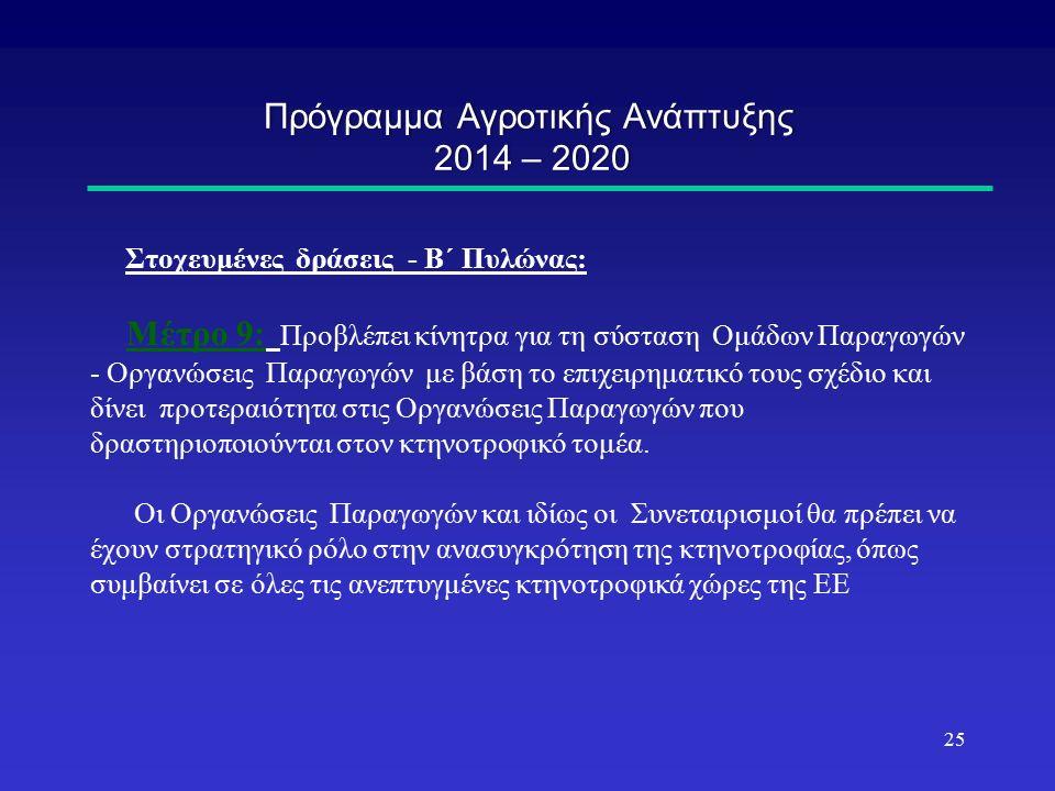 Πρόγραμμα Αγροτικής Ανάπτυξης 2014 – 2020 Στοχευμένες δράσεις - Β΄ Πυλώνας: Μέτρο 9: Προβλέπει κίνητρα για τη σύσταση Ομάδων Παραγωγών - Οργανώσεις Παραγωγών με βάση το επιχειρηματικό τους σχέδιο και δίνει προτεραιότητα στις Οργανώσεις Παραγωγών που δραστηριοποιούνται στον κτηνοτροφικό τομέα.