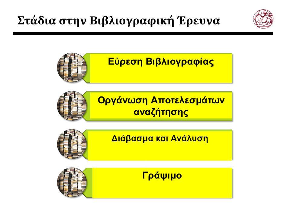 Στάδια στην Βιβλιογραφική Έρευνα Εύρεση Βιβλιογραφίας Οργάνωση Αποτελεσμάτων αναζήτησης Διάβασμα και Ανάλυση Γράψιμο