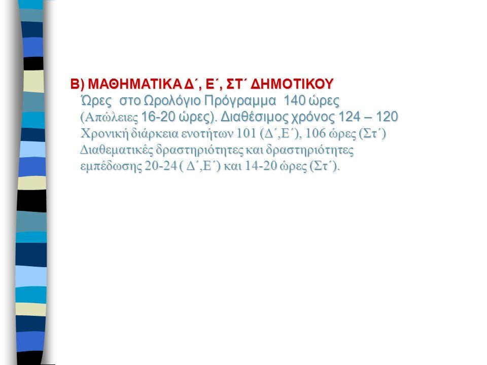 Β) ΜΑΘΗΜΑΤΙΚΑ Δ΄, Ε΄, ΣΤ΄ ΔΗΜΟΤΙΚΟΥ Ώρες στο Ωρολόγιο Πρόγραμμα 140 ώρες (Απώλειες 16-20 ώρες).