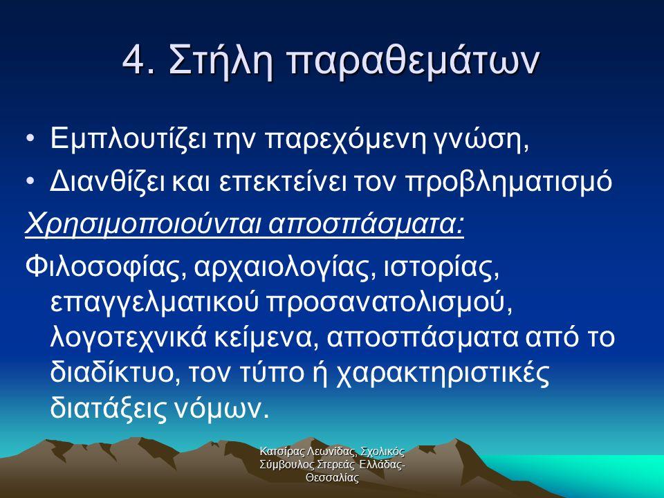 Κατσίρας Λεωνίδας, Σχολικός Σύμβουλος Στερεάς Ελλάδας- Θεσσαλίας 4. Στήλη παραθεμάτων Εμπλουτίζει την παρεχόμενη γνώση, Διανθίζει και επεκτείνει τον π