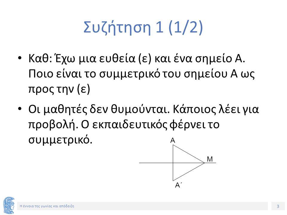 3 Η έννοια της γωνίας και απόδειξη Συζήτηση 1 (1/2) Καθ: Έχω μια ευθεία (ε) και ένα σημείο Α.