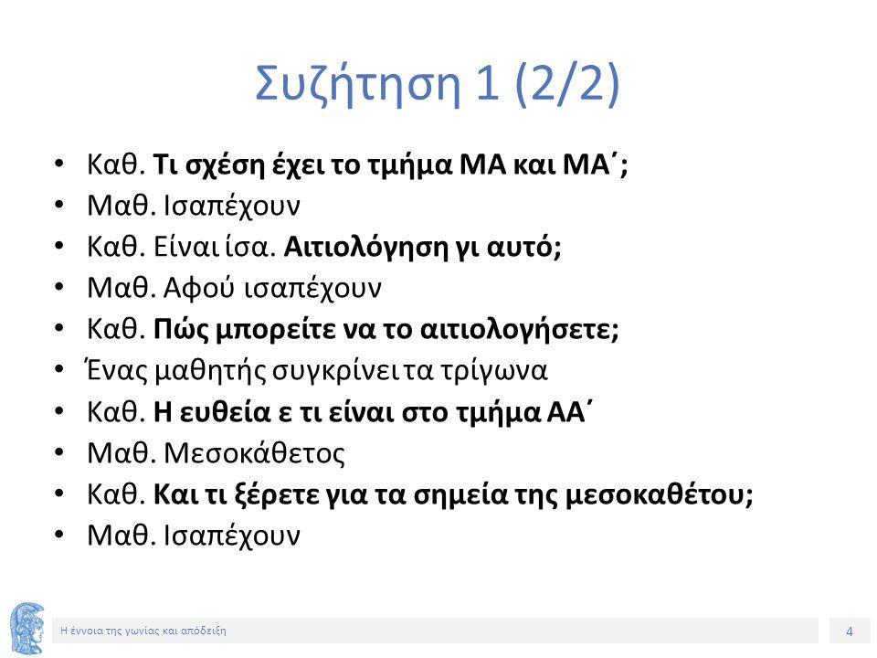 4 Η έννοια της γωνίας και απόδειξη Συζήτηση 1 (2/2) Καθ.