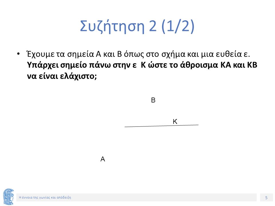 5 Η έννοια της γωνίας και απόδειξη Συζήτηση 2 (1/2) Έχουμε τα σημεία Α και Β όπως στο σχήμα και μια ευθεία ε.