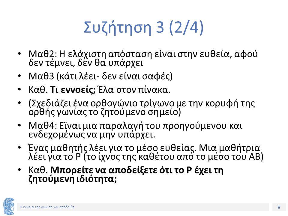 9 Η έννοια της γωνίας και απόδειξη Συζήτηση 3 (3/4) Κ.