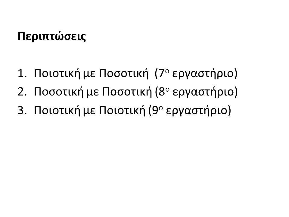 Περιπτώσεις 1.Ποιοτική με Ποσοτική (7 ο εργαστήριο) 2.Ποσοτική με Ποσοτική (8 ο εργαστήριο) 3.Ποιοτική με Ποιοτική (9 ο εργαστήριο)
