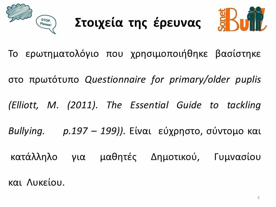 Στοιχεία της έρευνας 4 Το ερωτηματολόγιο που χρησιμοποιήθηκε βασίστηκε στο πρωτότυπο Questionnaire for primary/older puplis (Elliott, M. (2011). The E
