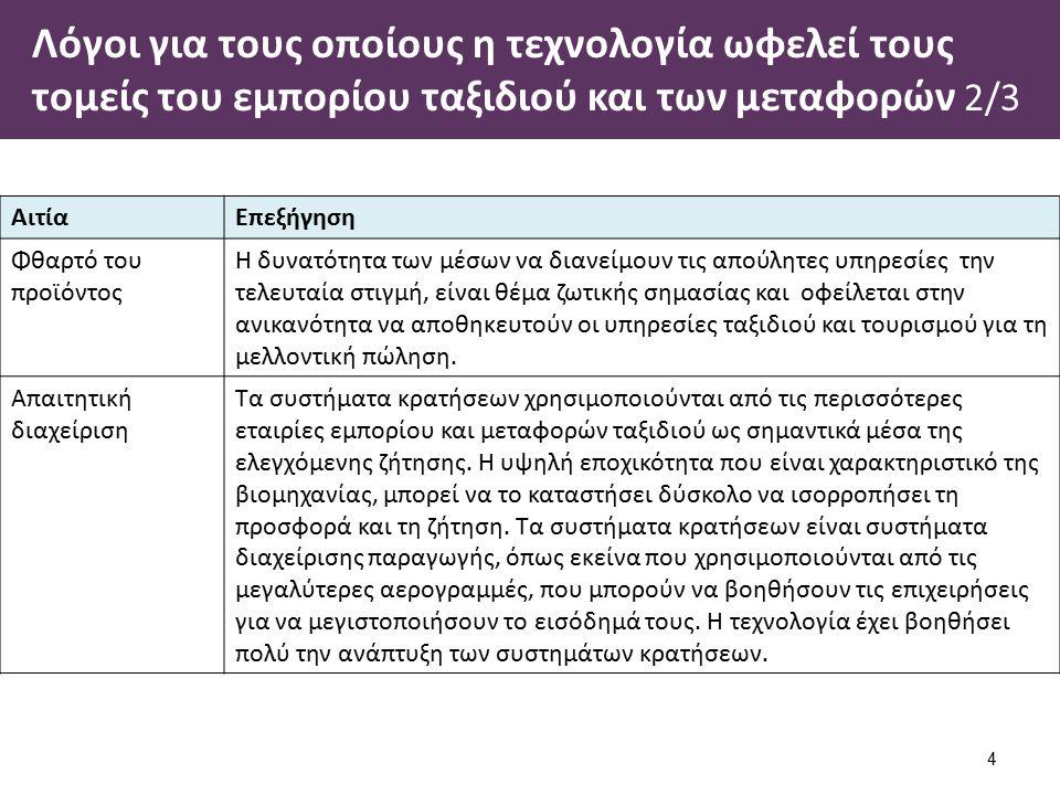 Λόγοι για τους οποίους η τεχνολογία ωφελεί τους τομείς του εμπορίου ταξιδιού και των μεταφορών 3/3 5 ΑιτίαΕπεξήγηση Έλεγχος δαπανώνΗ καθοδήγηση των δαπάνες της κατανομής είναι μια κύρια προτεραιότητα για τους tour operator, τους προμηθευτές καταλυμάτων και μεταφοράς.