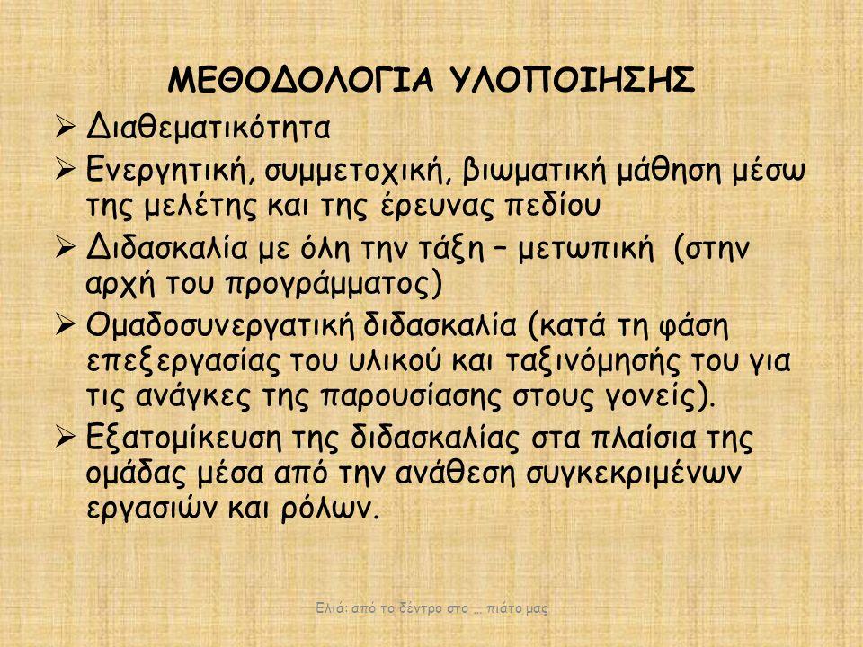 ΠΕΔΙΑ ΣΥΝΔΕΣΗΣ ΜΕ ΤΑ ΓΝΩΣΤΙΚΑ ΑΝΤΙΚΕΙΜΕΝΑ ΤΟΥ ΑΝΑΛΥΤΙΚΟΥ ΠΡΟΓΡΑΜΜΑΤΟΣ ΣΠΟΥΔΩΝ ΕΛΙΑ Δημιουργική Έκφραση Μαθηματικά Μυθολογία- Ιστορία Μελέτη Περιβάλλοντος Γεωγραφία Θρησκευτικά Γλώσσα Τέχνη Τ.Π.Ε Ελιά: από το δέντρο στο … πιάτο μας