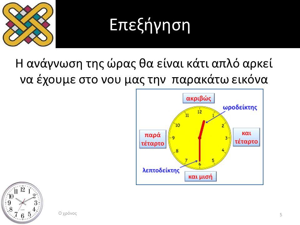 Επεξήγηση Η ανάγνωση της ώρας θα είναι κάτι απλό αρκεί να έχουμε στο νου μας την παρακάτω εικόνα Ο χρόνος 5