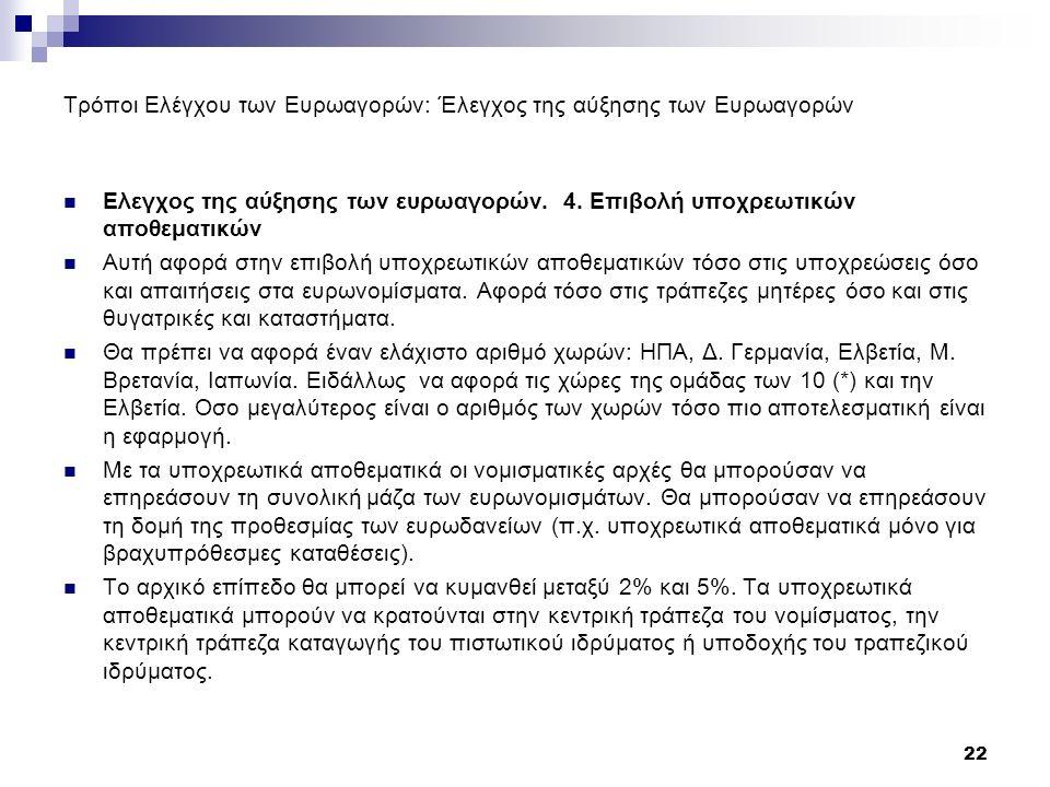 Τρόποι Ελέγχου των Ευρωαγορών: Έλεγχος της αύξησης των Ευρωαγορών Ελεγχος της αύξησης των ευρωαγορών.