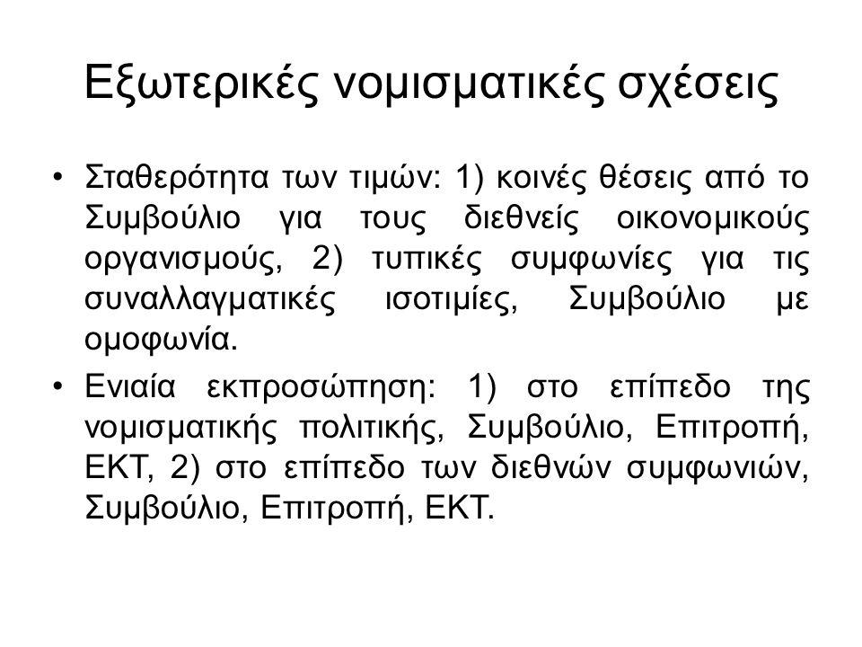 Εξωτερικές νομισματικές σχέσεις Σταθερότητα των τιμών: 1) κοινές θέσεις από το Συμβούλιο για τους διεθνείς οικονομικούς οργανισμούς, 2) τυπικές συμφωνίες για τις συναλλαγματικές ισοτιμίες, Συμβούλιο με ομοφωνία.
