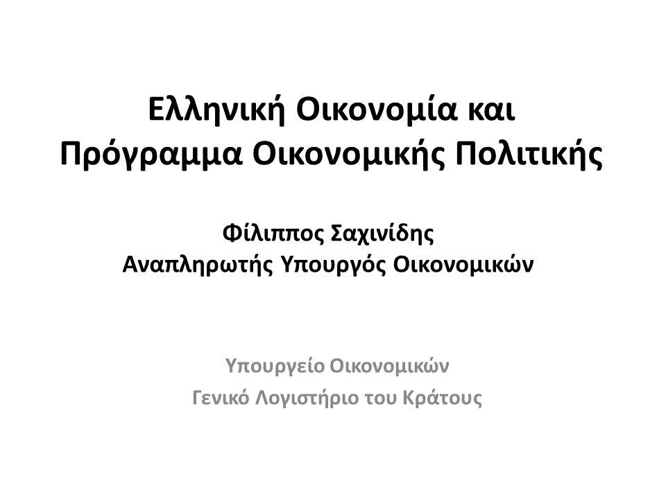 Ελληνική Οικονομία και Πρόγραμμα Οικονομικής Πολιτικής Υπουργείο Οικονομικών Γενικό Λογιστήριο του Κράτους Φίλιππος Σαχινίδης Αναπληρωτής Υπουργός Οικονομικών