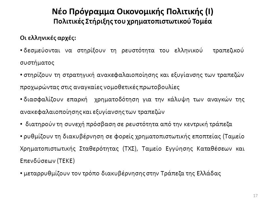 17 Νέο Πρόγραμμα Οικονομικής Πολιτικής (Ι) Πολιτικές Στήριξης του χρηματοπιστωτικού Τομέα Οι ελληνικές αρχές: δεσμεύονται να στηρίξουν τη ρευστότητα του ελληνικού τραπεζικού συστήματος στηρίζουν τη στρατηγική ανακεφαλαιοποίησης και εξυγίανσης των τραπεζών προχωρώντας στις αναγκαίες νομοθετικές πρωτοβουλίες διασφαλίζουν επαρκή χρηματοδότηση για την κάλυψη των αναγκών της ανακεφαλαιοποίησης και εξυγίανσης των τραπεζών διατηρούν τη συνεχή πρόσβαση σε ρευστότητα από την κεντρική τράπεζα ρυθμίζουν τη διακυβέρνηση σε φορείς χρηματοπιστωτικής εποπτείας (Ταμείο Χρηματοπιστωτικής Σταθερότητας (ΤΧΣ), Ταμείο Εγγύησης Καταθέσεων και Επενδύσεων (ΤΕΚΕ) μεταρρυθμίζουν τoν τρόπο διακυβέρνησης στην Τράπεζα της Ελλάδας
