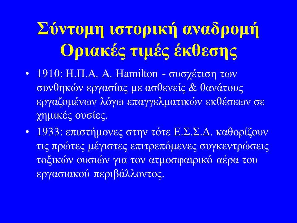 Σύντομη ιστορική αναδρομή Oριακές τιμές έκθεσης 1910: Η.Π.Α. Α. Hamilton - συσχέτιση των συνθηκών εργασίας με ασθενείς & θανάτους εργαζομένων λόγω επα