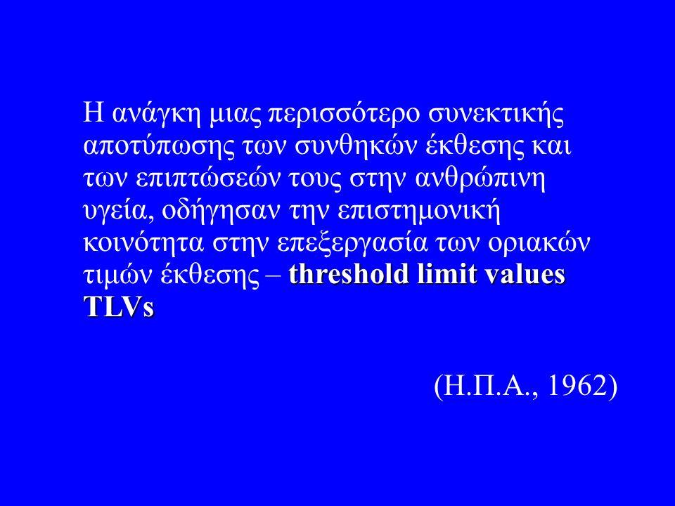 threshold limit values TLVs Η ανάγκη μιας περισσότερο συνεκτικής αποτύπωσης των συνθηκών έκθεσης και των επιπτώσεών τους στην ανθρώπινη υγεία, οδήγησαν την επιστημονική κοινότητα στην επεξεργασία των οριακών τιμών έκθεσης – threshold limit values TLVs (Η.Π.Α., 1962)