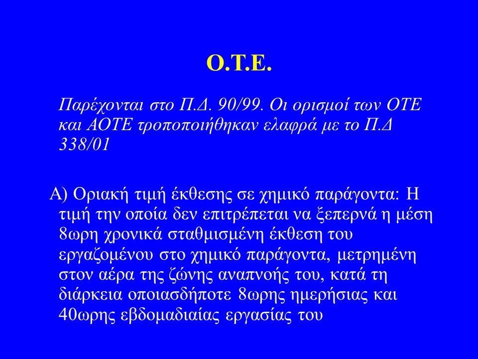 Ο.Τ.Ε. Παρέχονται στο Π.Δ. 90/99. Οι ορισμοί των ΟΤΕ και ΑΟΤΕ τροποποιήθηκαν ελαφρά με το Π.Δ 338/01 Α) Οριακή τιμή έκθεσης σε χημικό παράγοντα: Η τιμ