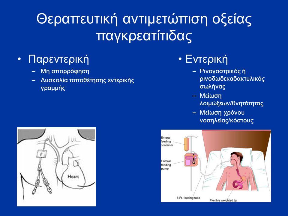 Θεραπευτική αντιμετώπιση οξείας παγκρεατίτιδας Παρεντερική –Μη απορρόφηση –Δυσκολία τοποθέτησης εντερικής γραμμής Εντερική –Ρινογαστρικός ή ρινοδωδεκαδακτυλικός σωλήνας –Μείωση λοιμώξεων/θνητότητας –Μείωση χρόνου νοσηλείας/κόστους
