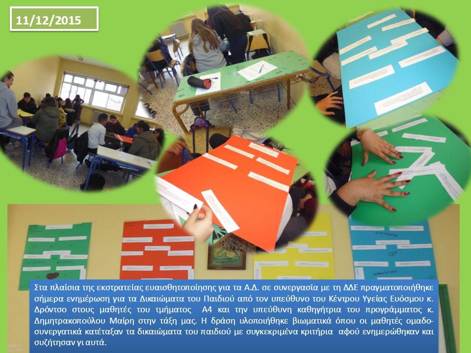 Στα πλαίσια της εκστρατείας ευαισθητοποίησης για τα Α.Δ. σε συνεργασία με τη ΔΔΕ πραγματοποιήθηκε σήμερα ενημέρωση για τα Δικαιώματα του Παιδιού από τ