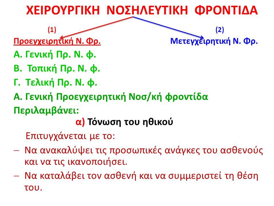 ΧΕΙΡΟΥΡΓΙΚΗ ΝΟΣΗΛΕΥΤΙΚΗ ΦΡΟΝΤΙΔΑ (1) (2) Προεγχειρητική Ν.