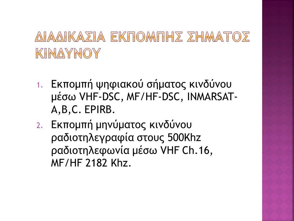 1. Εκπομπή ψηφιακού σήματος κινδύνου μέσω VHF-DSC, MF/HF-DSC, INMARSAT- A,B,C. EPIRB. 2. Εκπομπή μηνύματος κινδύνου ραδιοτηλεγραφία στους 500Khz ραδιο