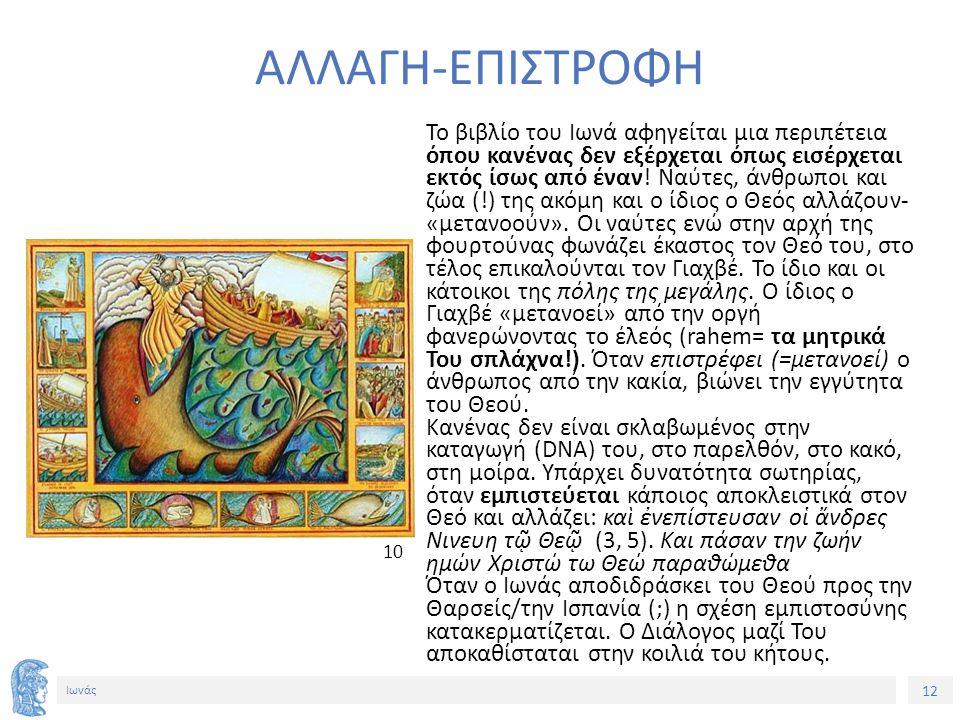 12 Ιωνάς ΑΛΛΑΓΗ-ΕΠΙΣΤΡΟΦΗ Το βιβλίο του Ιωνά αφηγείται μια περιπέτεια όπου κανένας δεν εξέρχεται όπως εισέρχεται εκτός ίσως από έναν.