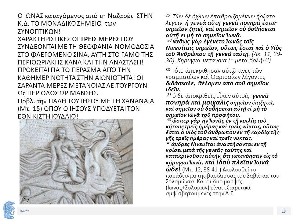 19 Ιωνάς Ο ΙΩΝΑΣ καταγόμενος από τη Ναζαρέτ ΣΤΗΝ Κ.Δ.