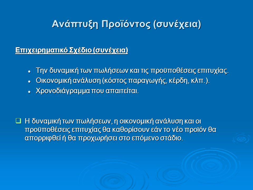 Ανάπτυξη Προϊόντος (συνέχεια) Επιχειρηματικό Σχέδιο (συνέχεια) Την δυναμική των πωλήσεων και τις προϋποθέσεις επιτυχίας.