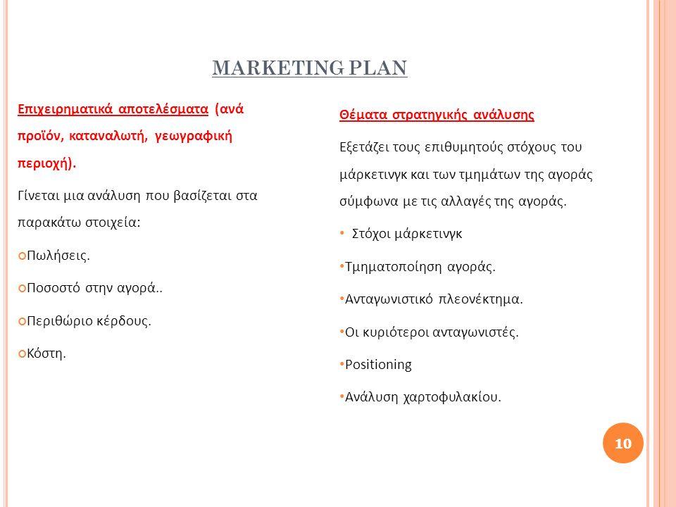MARKETING PLAN Επιχειρηματικά αποτελέσματα (ανά προϊόν, καταναλωτή, γεωγραφική περιοχή). Γίνεται μια ανάλυση που βασίζεται στα παρακάτω στοιχεία: Πωλή
