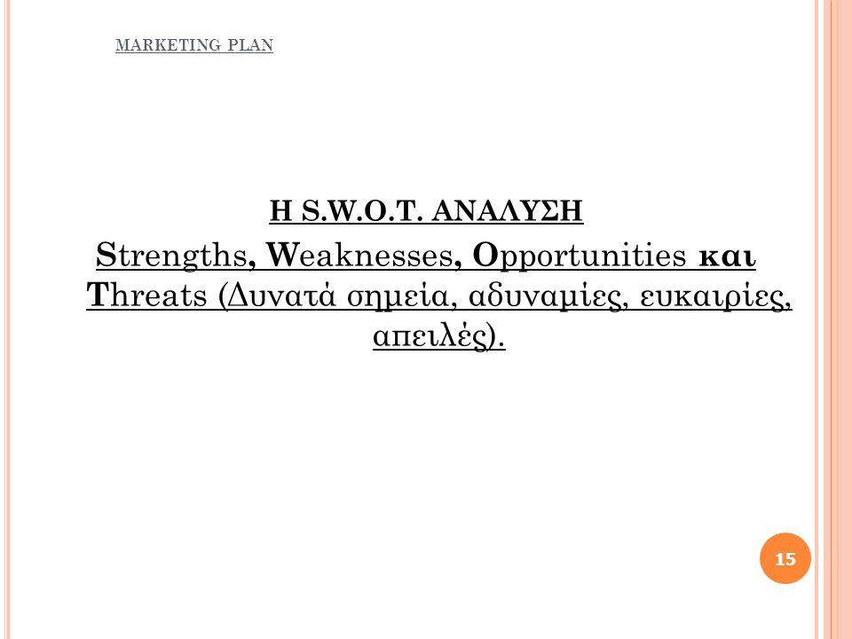 Η S.W.O.T. ΑΝΑΛΥΣΗ S trengths, W eaknesses, O pportunities και T hreats (Δυνατά σημεία, αδυναμίες, ευκαιρίες, απειλές). 15
