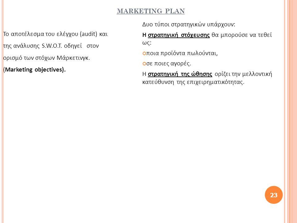 MARKETING PLAN Το αποτέλεσμα του ελέγχου (audit) και της ανάλυσης S.W.O.T. οδηγεί στον ορισμό των στόχων Μάρκετινγκ. (Marketing objectives). 23 Δυο τύ