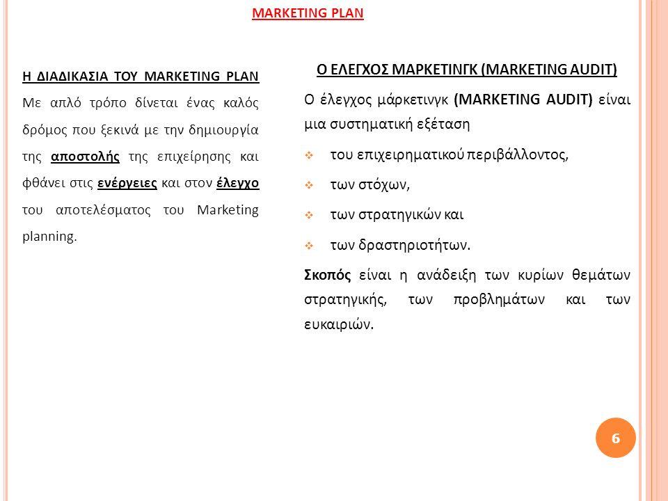 Η ΔΙΑΔΙΚΑΣΙΑ ΤΟΥ MARKETING PLAN Με απλό τρόπο δίνεται ένας καλός δρόμος που ξεκινά με την δημιουργία της αποστολής της επιχείρησης και φθάνει στις ενέργειες και στον έλεγχο του αποτελέσματος του Marketing planning.