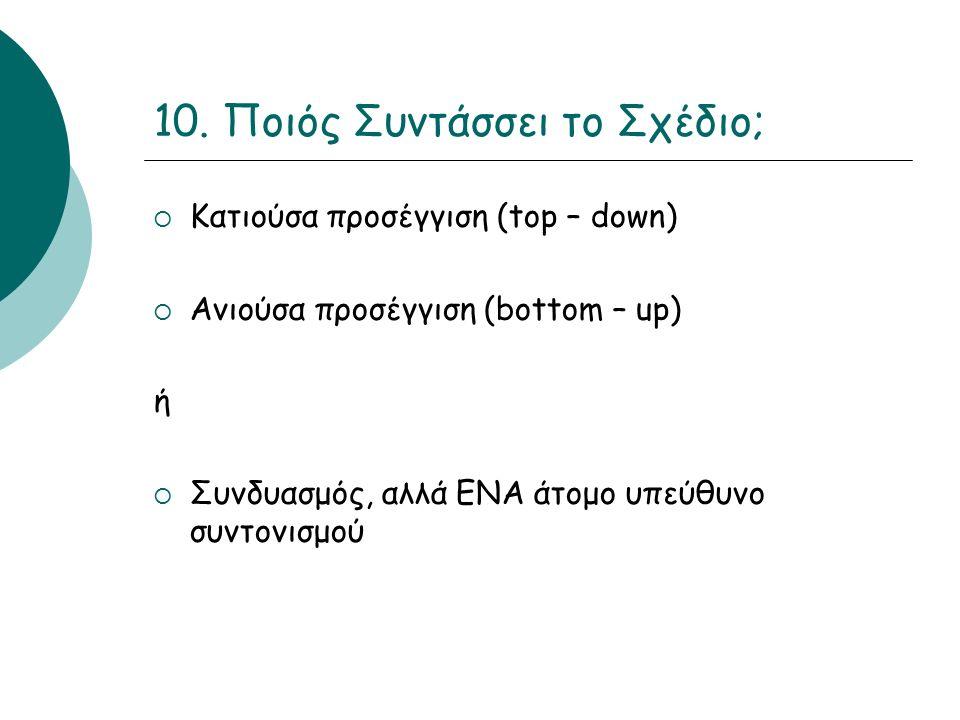 10. Ποιός Συντάσσει το Σχέδιο;  Κατιούσα προσέγγιση (top – down)  Ανιούσα προσέγγιση (bottom – up) ή  Συνδυασμός, αλλά ΕΝΑ άτομο υπεύθυνο συντονισμ