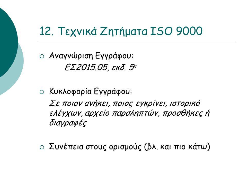 12. Τεχνικά Ζητήματα ISO 9000  Αναγνώριση Εγγράφου: ΕΣ2015.05, εκδ.