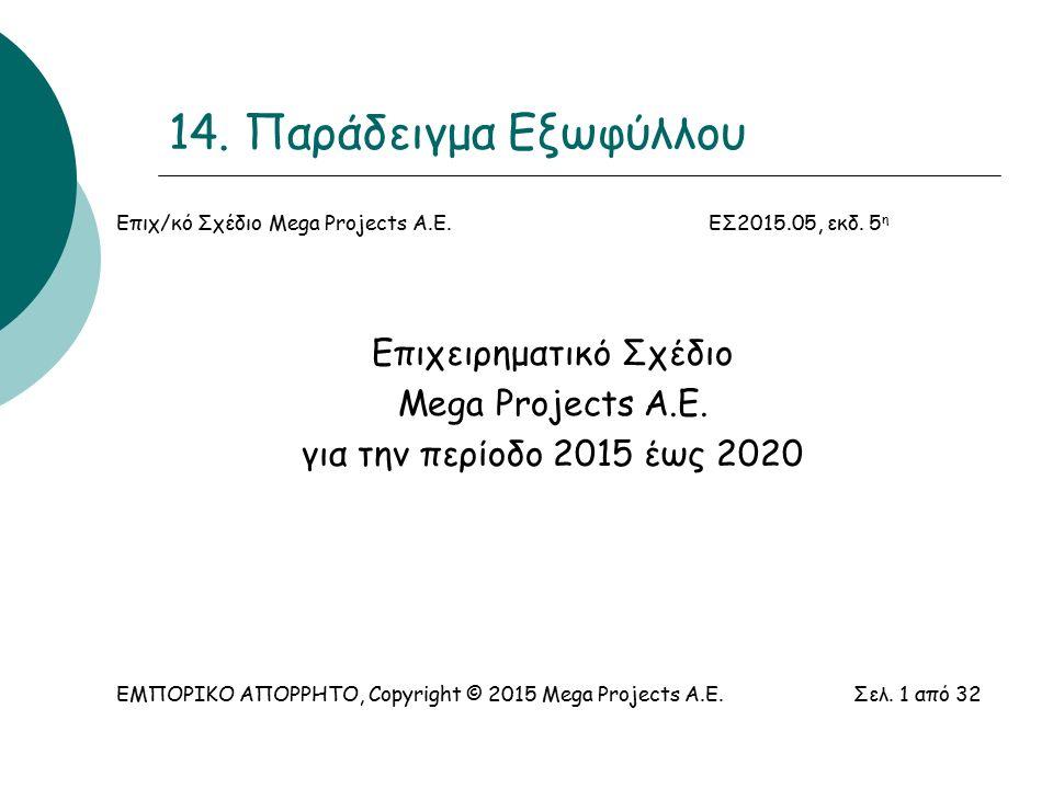 14. Παράδειγμα Εξωφύλλου Επιχ/κό Σχέδιο Mega Projects Α.Ε.