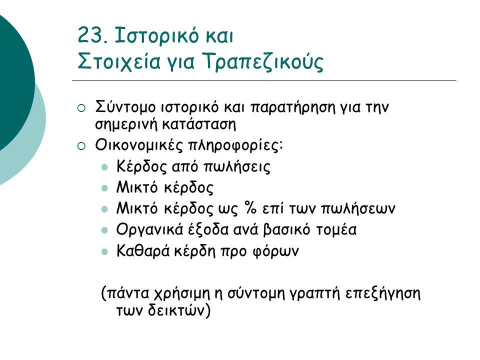 23. Ιστορικό και Στοιχεία για Τραπεζικούς  Σύντομο ιστορικό και παρατήρηση για την σημερινή κατάσταση  Οικονομικές πληροφορίες: Κέρδος από πωλήσεις