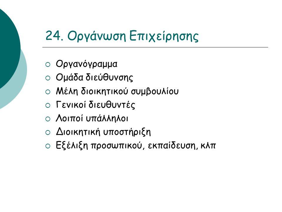 24. Οργάνωση Επιχείρησης  Οργανόγραμμα  Ομάδα διεύθυνσης  Μέλη διοικητικού συμβουλίου  Γενικοί διευθυντές  Λοιποί υπάλληλοι  Διοικητική υποστήρι