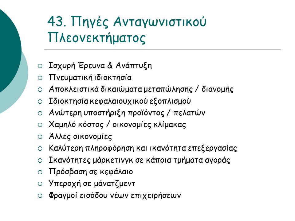 43. Πηγές Ανταγωνιστικού Πλεονεκτήματος  Ισχυρή Έρευνα & Ανάπτυξη  Πνευματική ιδιοκτησία  Αποκλειστικά δικαιώματα μεταπώλησης / διανομής  Ιδιοκτησ