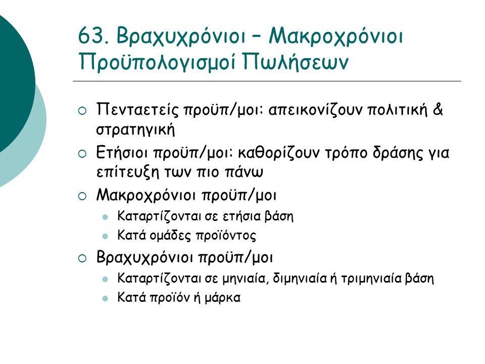 63. Βραχυχρόνιοι – Μακροχρόνιοι Προϋπολογισμοί Πωλήσεων  Πενταετείς προϋπ/μοι: απεικονίζουν πολιτική & στρατηγική  Ετήσιοι προϋπ/μοι: καθορίζουν τρό