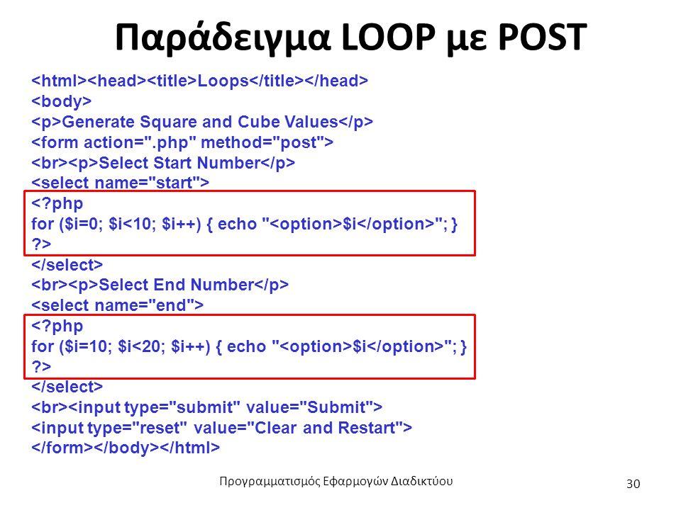 Παράδειγμα LOOP με POST Loops Generate Square and Cube Values Select Start Number <?php for ($i=0; $i $i ; } ?> Select End Number <?php for ($i=10; $i $i ; } ?> Προγραμματισμός Εφαρμογών Διαδικτύου 30
