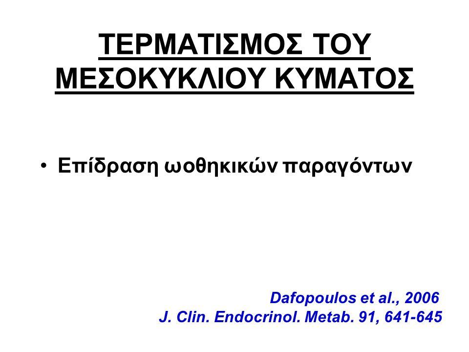 ΤΕΡΜΑΤΙΣΜΟΣ ΤΟΥ ΜΕΣΟΚΥΚΛΙΟΥ ΚΥΜΑΤΟΣ Επίδραση ωοθηκικών παραγόντων Dafopoulos et al., 2006 J.