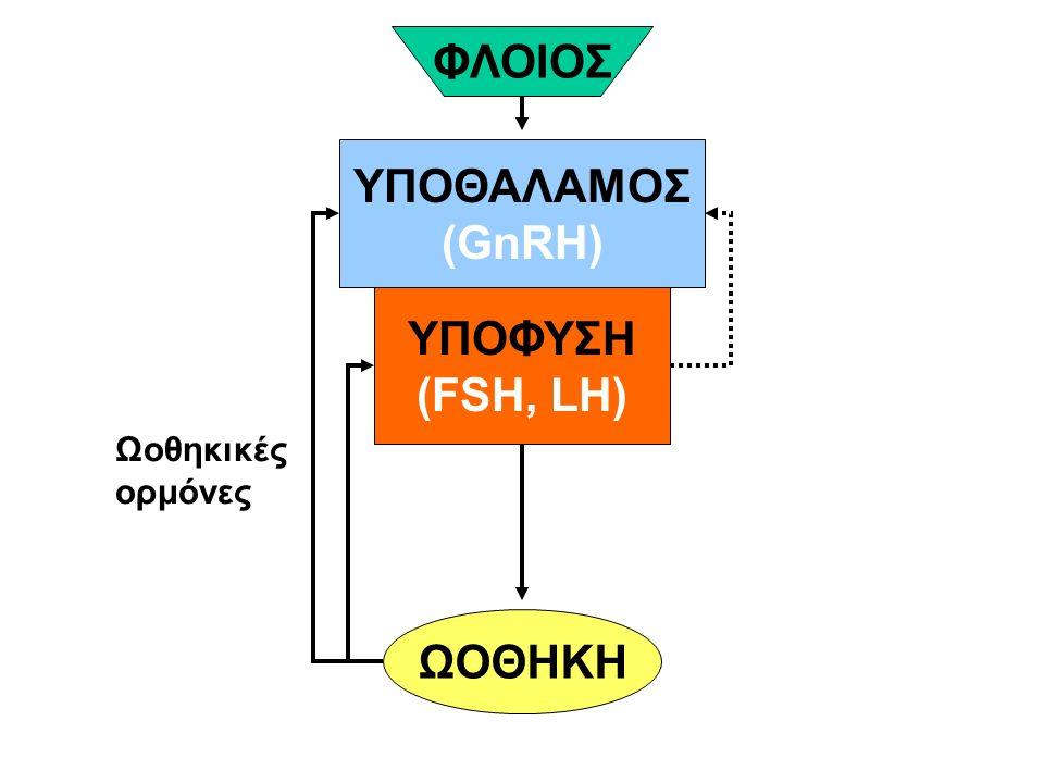 ΥΠΟΘΑΛΑΜΟΣ (GnRH) ΥΠΟΦΥΣΗ (FSH, LH) ΩΟΘΗΚΗ ΦΛΟΙΟΣ Ωοθηκικές ορμόνες