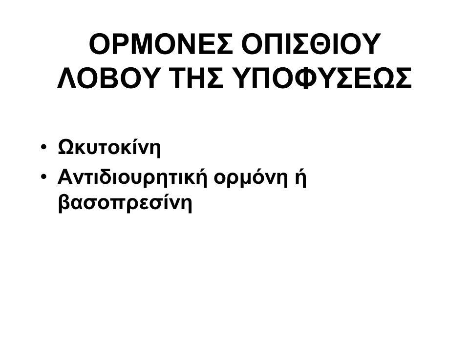 ΟΡΜΟΝΕΣ ΟΠΙΣΘΙΟΥ ΛΟΒΟΥ ΤΗΣ ΥΠΟΦΥΣΕΩΣ Ωκυτοκίνη Αντιδιουρητική ορμόνη ή βασοπρεσίνη