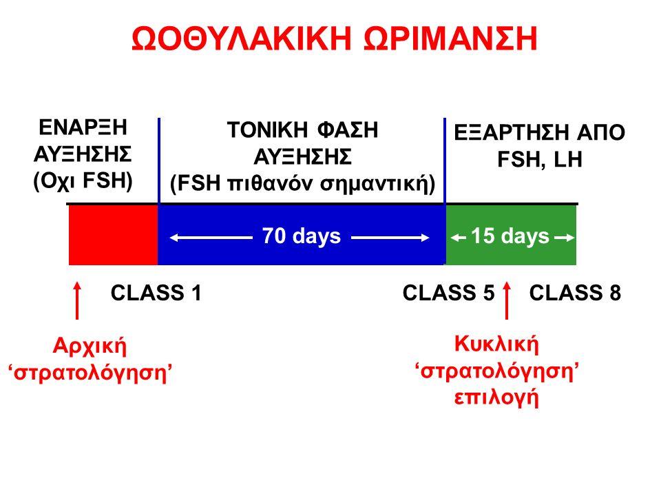 CLASS 1CLASS 5CLASS 8 ΕΞΑΡΤΗΣΗ ΑΠΟ FSH, LH ΤΟΝΙΚΗ ΦΑΣΗ ΑΥΞΗΣΗΣ (FSH πιθανόν σημαντική) ΕΝΑΡΞΗ ΑΥΞΗΣΗΣ (Οχι FSH) 15 days 70 days15 days Αρχική 'στρατολόγηση' Κυκλική 'στρατολόγηση' επιλογή ΩΟΘΥΛΑΚΙΚΗ ΩΡΙΜΑΝΣΗ